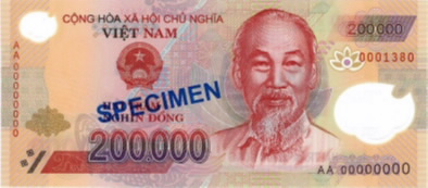 ... 10000 VND, 20000 VND, 50000 VND, 100000 VND, 200000 VND and 500000 VND  are presently in circulation. The front views of popular notes are below:
